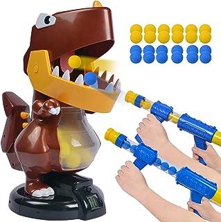 HAYZUSZ Large Dinosaur Toy Shooting Foam Ball Blasters Game Gun Toy for Kids 24 Soft Eva Foam Balls 2 Popper Air Gun Pump ...