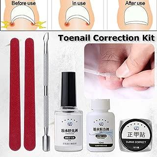 Ingrown Toenail Corrector Kit, Pedicure Tools, LuckyFine 6pcs Nail File Elastic Patch Straightening Clip Nail Glue Toe Nail Care Pedicure Tool