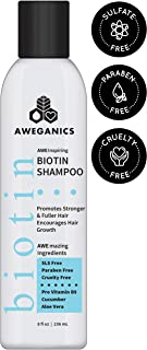 Aweganics Biotin Hair Growth Shampoo, AWE Inspiring Thickening Shampoo for Hair Loss and Thinning Hair - SLS-Free, Parabe...