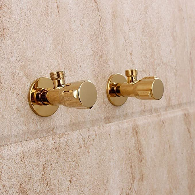 AXWT Faucet Angle Valve Retro All Bronze Triangle Valve Spiral Round Handle Shut-Off Valve 4 Points Eight-Shaped Valve G1 Size : 1 pcs 2 Hot and Cold Faucet Link Valve