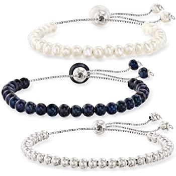 Ross-Simons 4mm Cultured Pearl and Sterling Silver Bead Jewelry Set: 3 Bolo Bracelets