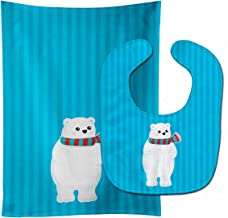Caroline's Treasures Polar Bear No. 2 Baby Bib & Burp Cloth, Multicolor, Large