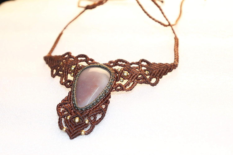 Handmade Macrame Translated Necklace Chick Pendant Jewelry Stone Cord Max 68% OFF Onyx