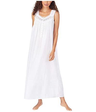 Eileen West Cotton Dobby Stripe Woven Sleeveless Ballet Nightgown (White) Women
