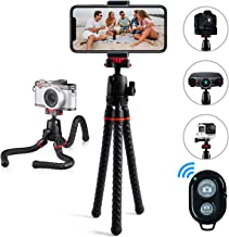 Phone Tripod LINKCOOL 360 Degree Rotation Foldable Flexible Octopus Travel Tripod for iPhone Camera Samsung Smartphone Sports Action Camera with Bluetooth Wireless Remote Shutter - Black