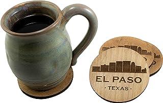 El Paso Texas TX Souvenir 4 Piece Coaster New Home Decor Gift Set, Golden Finish