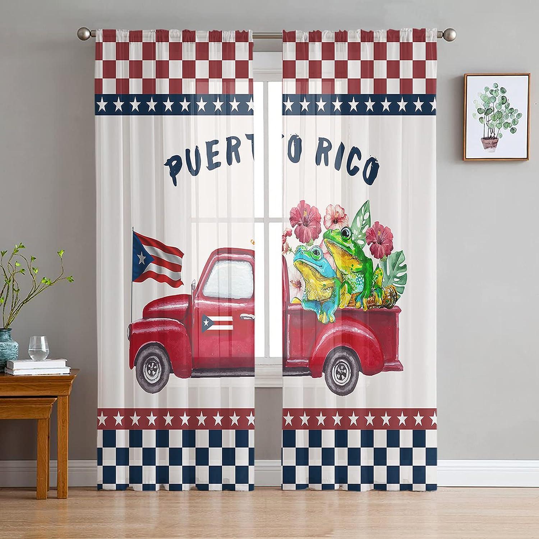 2 Trust Panels Sheer Curtains Light Flag Drapes Filtering Puerto 5 ☆ popular Rico
