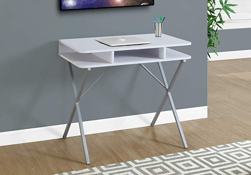 Monarch Specialties Laptop Table Small Desk With Open Shelves Home Office Computer Desk Metal Legs 31 L White