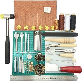 ele ELEOPTION 44pcs DIY Craft Leather Hand Sewing Tools Kit Leathercraft Couture Punch Tools Main Kit Craft Leather Tools ...