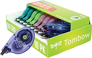 Tombow 68723 MONO Retro Correction Tape, Assorted Colors, 10-Pack. Colorful, Easy To Use Applicator for Instant Corrections