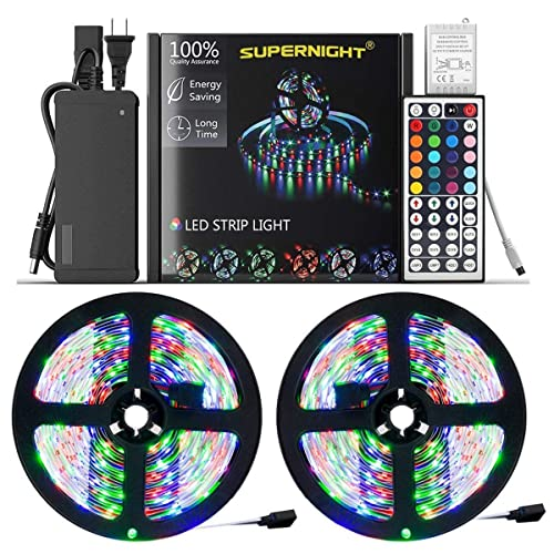 NEW 2020 LED Strip Lights – Waterproof 32.8ft 600 LEDs SMD 3528 RGB Rope with Remote Controller and 12V Power Adapter, Extra Adhesive Tape, Color Changing Lighting for TV, Bedroom, Christmas Decor