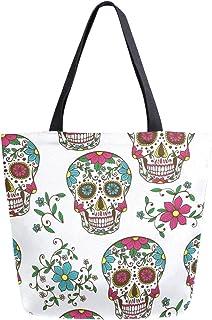 Mnsruu Dia De Los Muertos Schädel Blume Lebensmittel, wiederverwendbare Einkaufstasche Frauen große lässige Handtasche Sch...