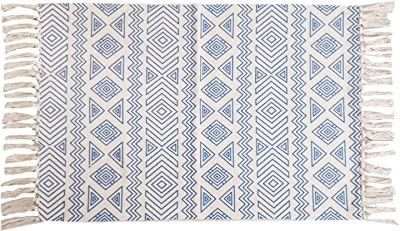 Satbuy Boho Cotton Rug Runner 2'x3', Tassel Throw Rug Bathroom Rug Hand Woven Washable Outdoor Doormats