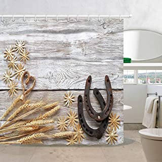 Western Farm House Barn Door Fabric Shower Curtains, Wheat Ears Straw Stars with Horseshoes on Rustic Wooden, Polyester Waterproof Shower Curtain for Bathroom, 69X70in, Bath Curtain Hooks Included