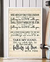 Trendora Decor I Cant Help Falling in Love Song Lyrics Portrait Poster Print (16