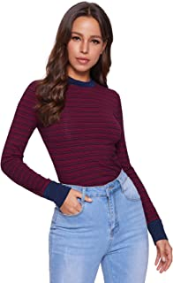 SheIn Women's Casual Mock Neck Striped Tee Tops Long Sleeve Slim Fit T-Shirts