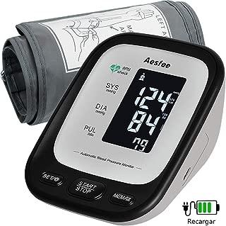Tensiómetro de Brazo Digital Recargable USB, Monitor Eléctrico de Presión Arterial Medición Automática de la Presión Arterial y Latido Cardíaco para Dos Registros de Salud del Usuario, Memoria 2 x 90