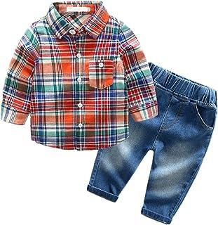 Beide Baby Boys Outfits Long Sleeve Plaid Bodysuit + Jean Pant.