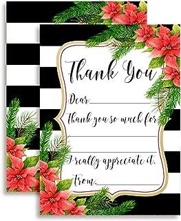 Watercolor Poinsettia Christmas Thank You Notes, Ten 4
