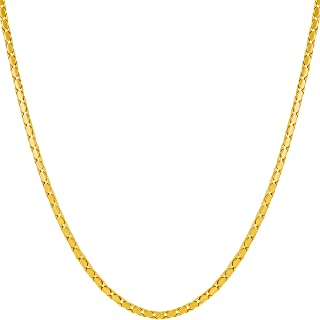 1.7mm Snake Chain Necklace for Women and Men 24k Gold Plated