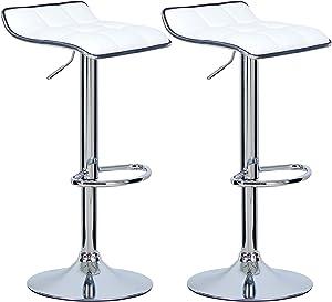 WOLTU BH28ws-2 Sgabelli da Bar Sedia Cucina Alta con Poggiapiedi Similpelle Cromato Regolabile Girevole Moderni Classici Bianco Coppia Set 2