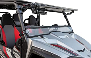 SuperATV Heavy Duty Scratch Resistant 3-IN-1 Flip Windshield for Yamaha Wolverine X2 (2019+) - Hard Coated for Extreme Durability - Can be Set to Open, Vented, or Closed!