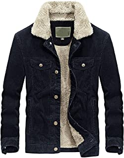 Men's Vintage Button-Front Slim Fit Corduroy Denim Jacket