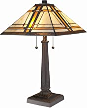 Amora Lighting Tiffany Style Table Lamp Banker Mission 22