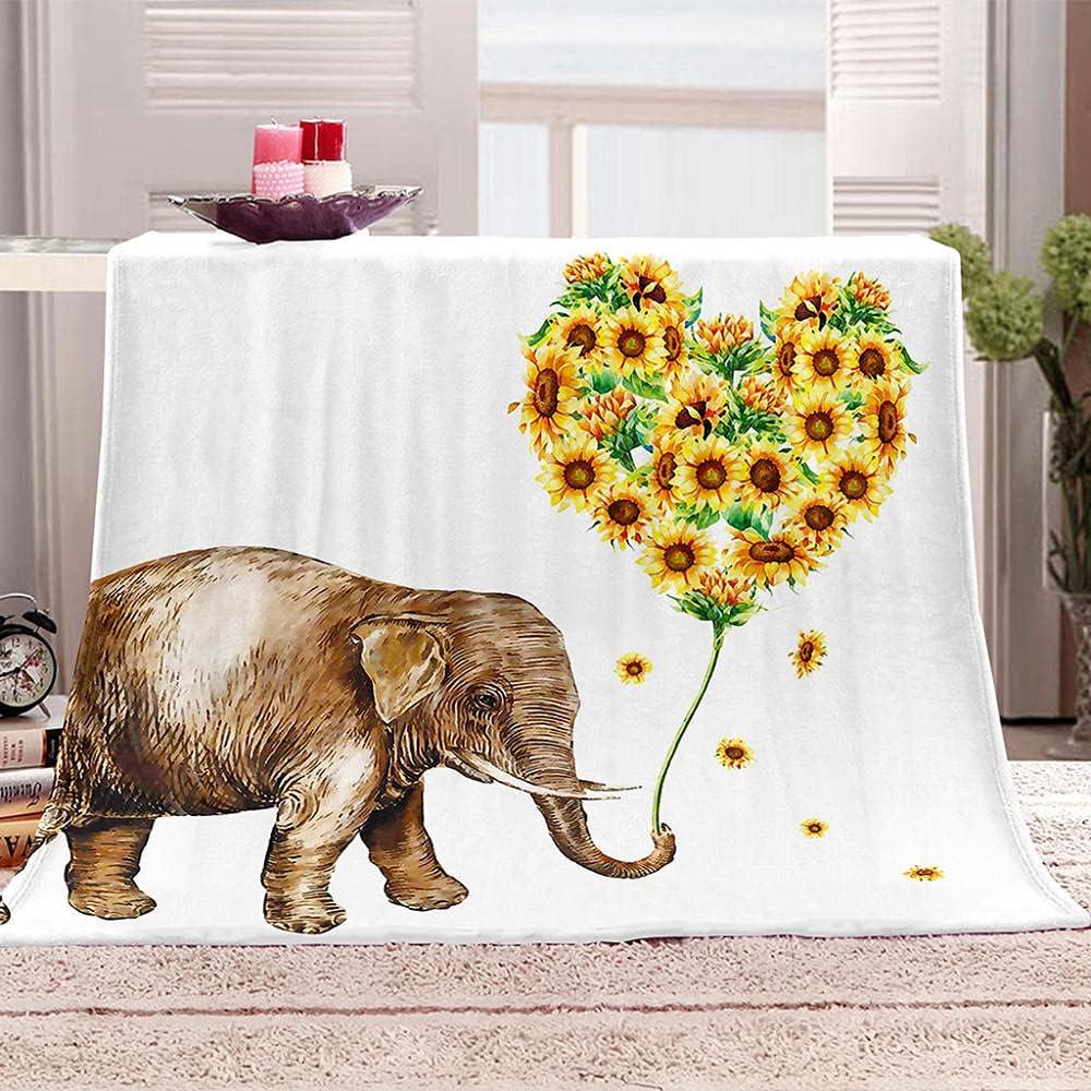 Throw Blankets Elephant sunflower flower Max 63% OFF Fleece Alternative dealer Blank