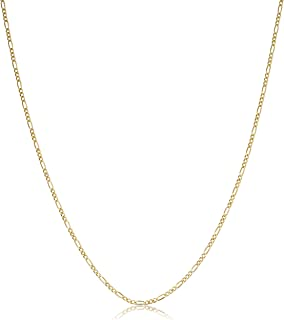 KoolJewelry 14k Yellow Gold Figaro 3+1 Link Chain Pendant Necklace For Women (1.4mm, 14 to 30 inch)