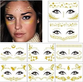 Ooopsi Face Flash Tattoo Sticker - 8 Sheets Metallic Gold Tattoo Sticker Face Jewels for Women Girls Make Up Dancer Costume Parties Rave Festivals, Shimmer Glitter Face Tattoos, Waterproof