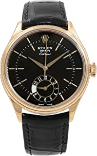 Cellini Dual Time Black Dial 18kt Everose Gold Mens Watch 50525BKSBKL