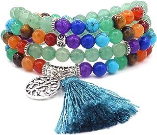 108 cuentas 6 mm 7 chakra energía piedra natural verde curación yoga pulsera/collares