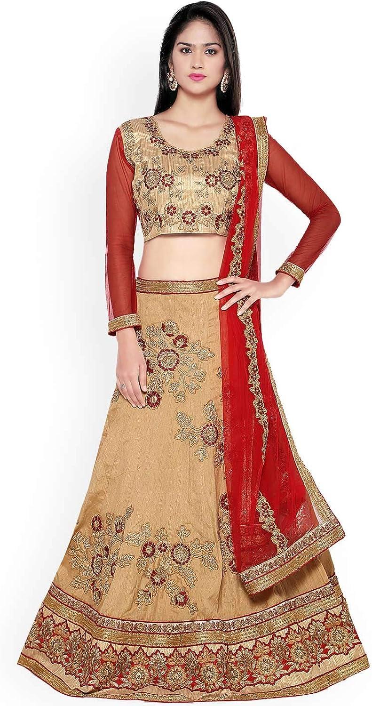 Generic WOMN Beige & Red Embroidered Silk SemiStitched Lehenga Choli with Dupatta