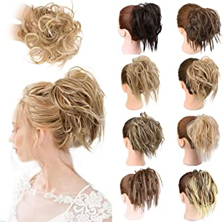 1PCS Messy Hair Bun Hair Scrunchies Extension Curly Wavy Messy Synthetic Chignon for women Updo Hairpiece (Tousled Scrunch...