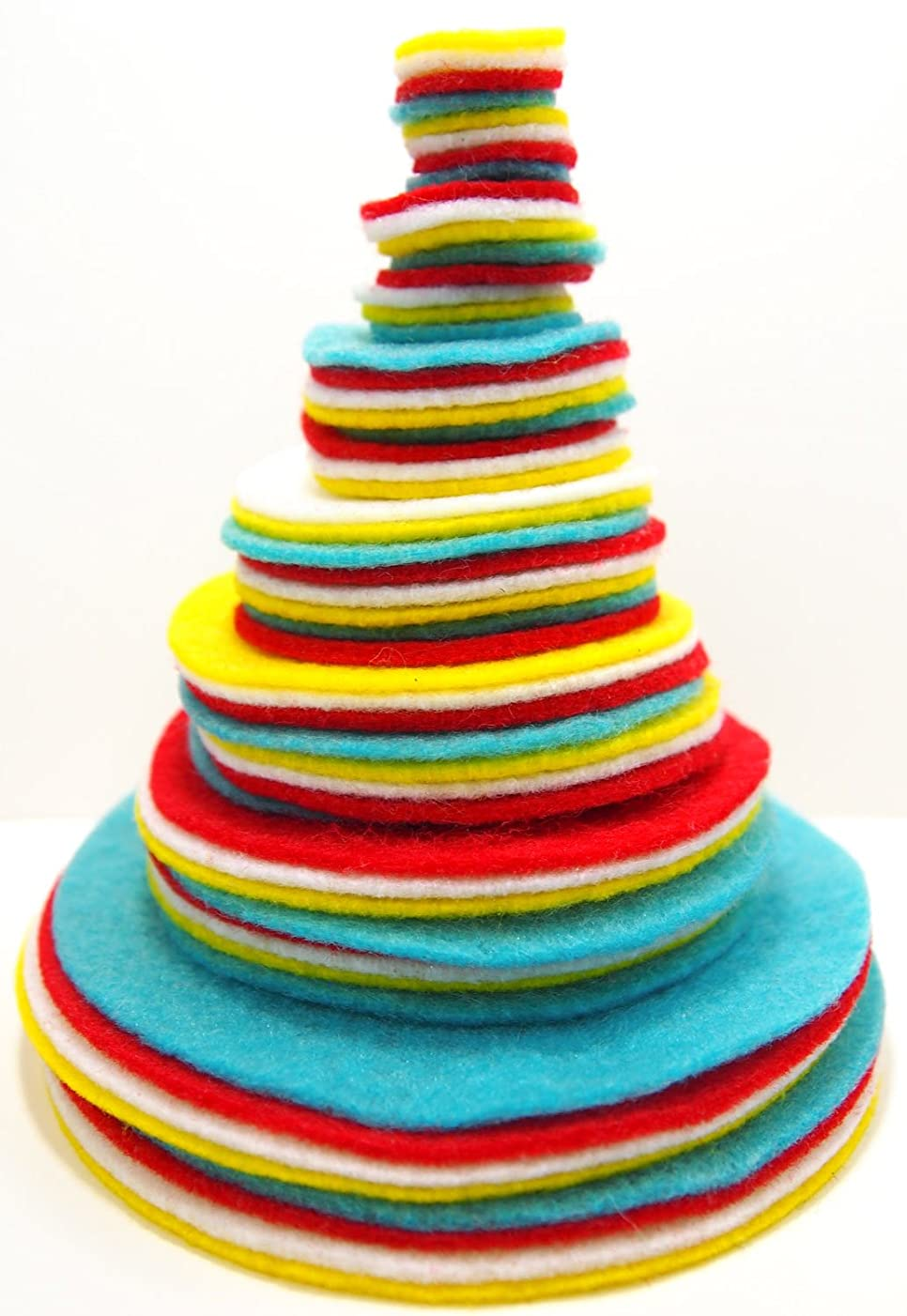 Playfully Ever After 3/4 to 4 Inch Assorted Sizes Felt Circles Color Combo Pack with Red, Turquoise Blue, White, Yellow (56pc)