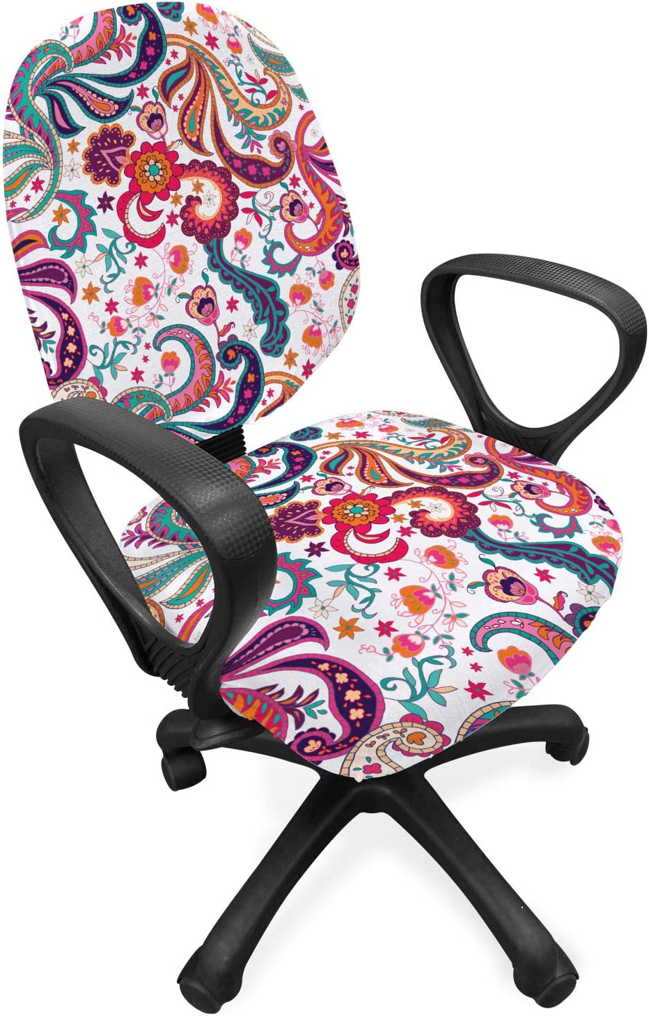 Lunarable Paisley Office Chair Slipcover, Paisley Hand Drawn Style Motif Colorful Flowers and Leaves in Vintage Colors Print, Protective Stretch Decorative Fabric Cover, Standard Size, Orange Teal