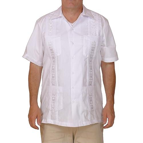 d2abb9c2 Squish Cuban Style Guayabera Shirt/White