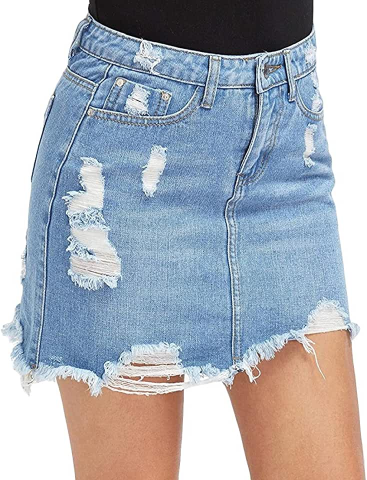 CMCYY Women Frayed Edge Denim Ripped Hole High Rise Bodycon Skirts