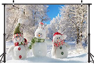 LYWYGG 8x6FT Winter Backdrop Cute Snowman Photography Backdrops Christmas Theme White Snow Tree Photographic Background fo...