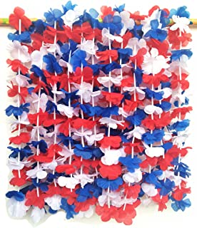 LITTLE FEATHER Red White and Blue 4th of July Party Lei Hawaiian Luau Flower Necklace Party Favors,Pack of 12