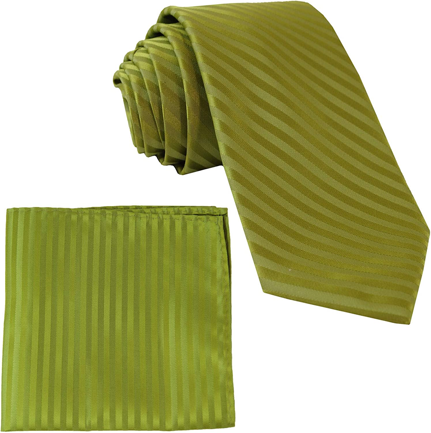 Polyester Mens Striped Spinach Green Necktie With Pocket Square Set for Men Woven Skinny Suit Tie with Handkerchief for Wedding Birthday Party