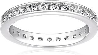 Platinum-Plated Sterling Silver Swarovski Zirconia Channel Set All-Around Band Ring