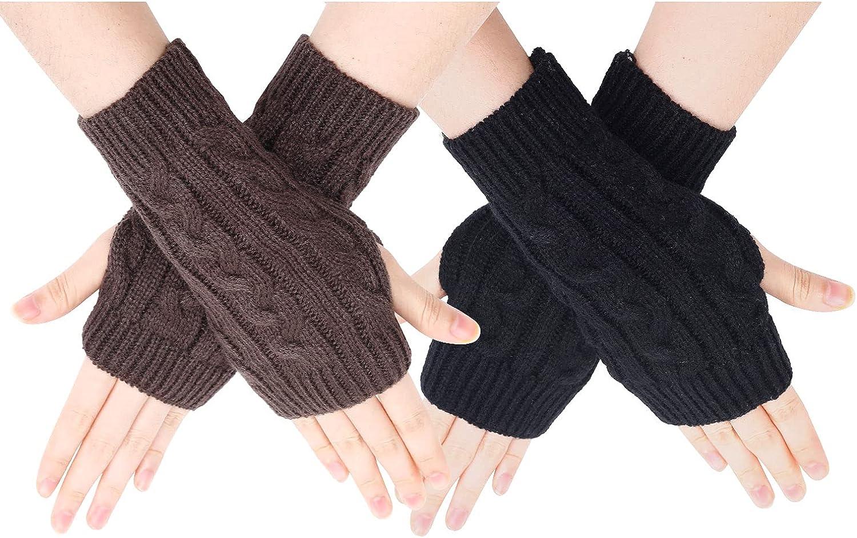 SOCKFUN Knit Fingerless Gloves for Women Hand Warmer Gloves, Thumbhole Warm Winter Fingerless Mittens for Women 2 Pairs