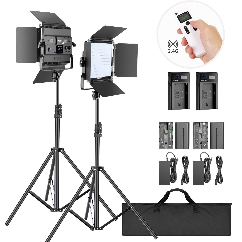 Neewer 2-Pack 2,4G LED Luz Video con Soporte de 2M Bicolor 200 SMD CRI 94 + Soporte en U Barndoor Pantalla LCD Kit Iluminación de Video con Carcasa Metal para Fotografía Estudio: