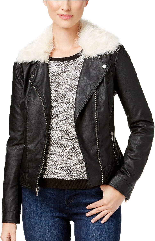 Celebrity Pink Juniors' Faux-Fur-Collar Faux-Leather Moto Jacket (Medium, Black)