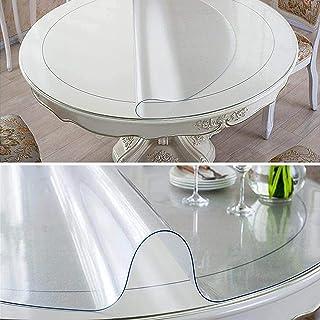 SXJC Nappe Ronde Transparente 2mm Housse De Table en PVC Protecteur De Nappe en Plastique Transparent Essuyable,160cm/63in