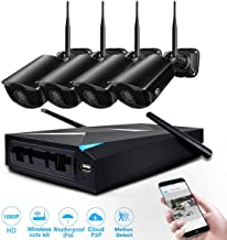 JOOAN Security Camera System Wireless HD1080P 4CH NVR Kits 2MP Wireless IP Camera,80ft Night Vision,Remote Access,Motion Detection, Auto Pair(Black-HD1080P)