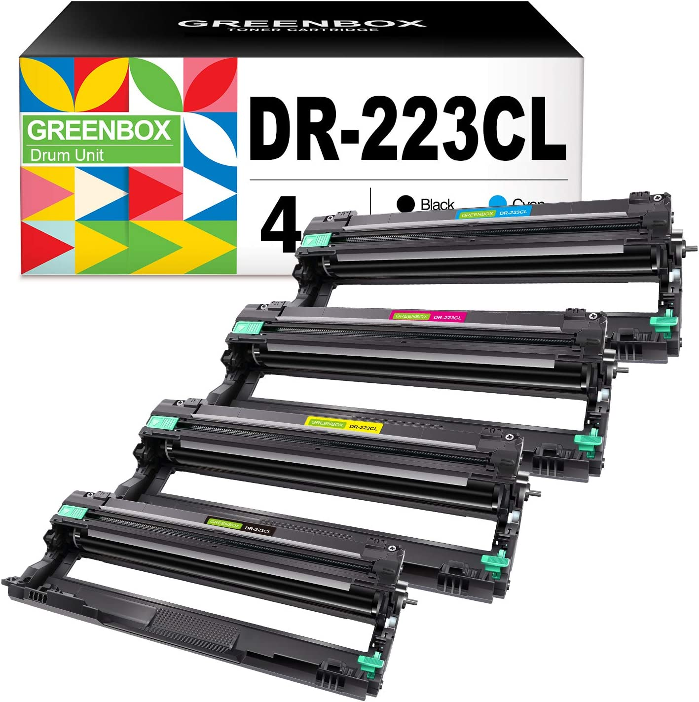 GREENBOX Compatible Drum Unit Replacement for Brother DR223 DR-223 DR223CL DR-223CL for HL-L3210CW HL-L3230CDW HL-L3270CDW HL-L3290CDW MFC-L3710CW MFC-L3750CDW MFC-L3770CDW Printer Tray (4 Pack)