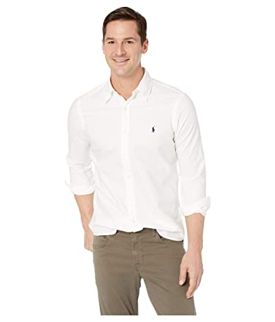 Polo Ralph Lauren Long Sleeve Solid Garment Dyed Oxford Classic Fit Sport Shirt (White) Men
